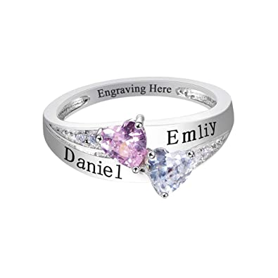 Valyria Personalized Mothers Ring Customized 4 Heart Simulated Birthstone Ring Family Name Ring,Size 5-8