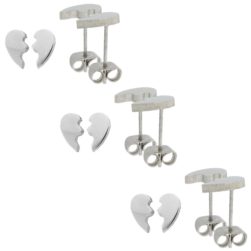 Small Stainless Steel Split Heart Stud Earrings for Best Friends 3//8 inch