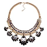 Best QIYUN.Z Statement Necklaces - Chunky Black Bib Statement Gold Graduated Flower Charms Review