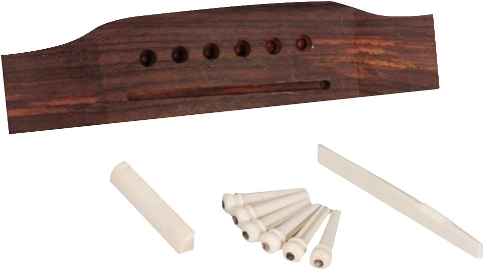 a Saddle and a Nut 6 String Acoustic Guitar Bridge Bone Pins Saddle Nut//Specially Designed Set of Guitar Accessories Including a Bridge Six Pins