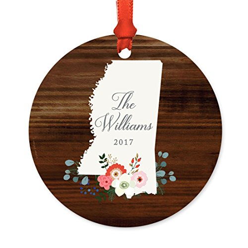 Andaz Press Personalized US State Round Metal Christmas Ornament, Rustic Wood with Florals, Mississippi, 1-Pack, Includes Ribbon and Gift Bag, Custom Name