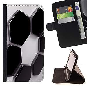 BullDog Case - FOR/Apple Iphone 5C / - / Abstract Hexagons /- Monedero de cuero de la PU Llevar cubierta de la caja con el ID Credit Card Slots Flip funda de cuer
