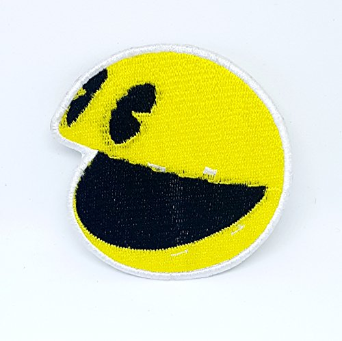 Face Man Pac (Pac Man Smiley Face Kids Children Embroidered Iron On Patch Yellow)