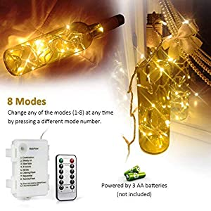 [Remote and Timer] 100 LED Outdoor Battery Fairy Lights (8 Modes, Dimmable, IP65 Waterproof, Warm White)