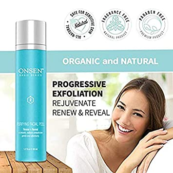 Peeling Gel – Exfoliating Facial Peel, Blackhead Remover Gel, Organic Face Peel, Natural White Peeling Gel for Women, Daily Skin Peels for Dark Spots and Sensitive Skin, 1.7 fl oz 50 ml by Onsen