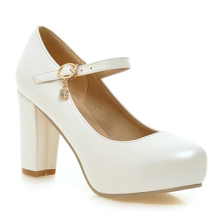 Summerwhisper Women's Sweet Round Toe Hidden Platform Pumps Ankle Strap Chunky High Heel Shoes