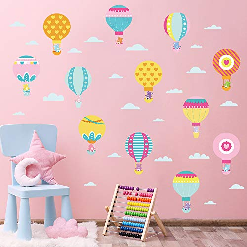 decalmile Colorful Hot Air Balloon Wall Decals Care Bears Baby Wall Stickers Nursery Room Kids Bedroom Wall Decor (Care Bears Nursery Decor)