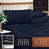 Premium Queen Size Sheets Set - Dark Navy Blue Hotel Luxury 4-Piece Bed Set, Extra Deep Pocket Special Super Fit Fitted Sheet, Best Quality Microfiber Linen Soft & Durable Design + Better Sleep Guide
