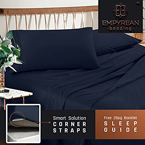 Premium Cal King Sheets Set - Dark Navy Blue Hotel Luxury 4-Piece Bed Set, Extra Deep Pocket Special Super Fit Fitted Sheet, Best Quality Microfiber Linen Soft & Durable Design + Better Sleep Guide