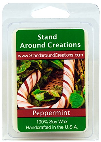 (100% All Natural Soy Wax Melt Tart - Peppermint: Irresistible aroma with mint essential oil to create this fragrance. 3oz.)