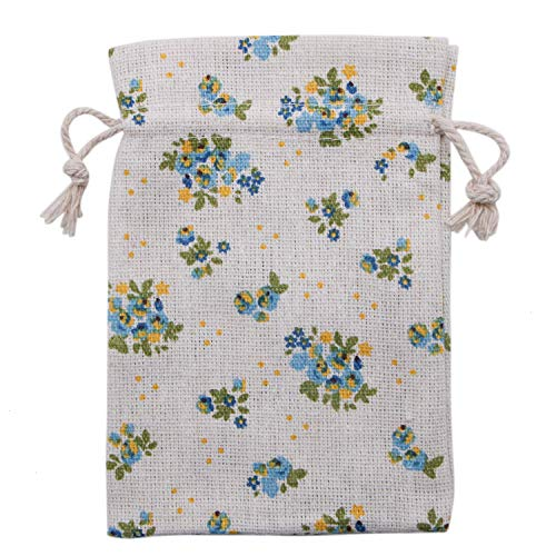 - JETEHO 20 Pcs Blue Flower Burlap Drawstring Favo Gift Bag Floral Pattern Pouch Storage Bag for Party Wedding Arts Crafts Projects Presents Snacks Jewelry