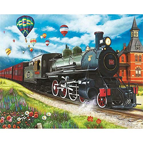 Paint by Digital Kit for Kids and Adults with Frame, Diy Oil Painting,Flower Train, Gift 16