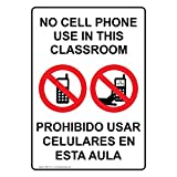 ComplianceSigns Vertical Plastic No Cell Phone In Classroom Bilingual Sign, 10 X 7 in. with English + Spanish Text and Symbol, White