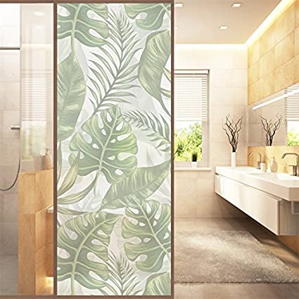AmazingWall Nordic Watercolor Palm Leave Frosted Sticker Glass Privacy  Window Film Cling Shower Door Cover 22.8