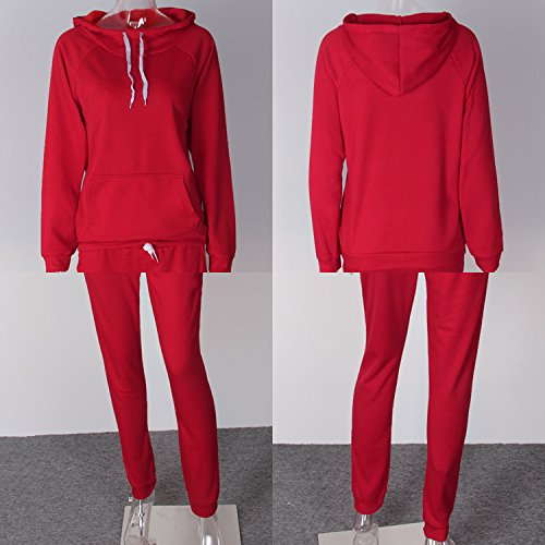 a9544399d45 Pantalon Petalum 2pcs Automne Longues Suits Tenue Survtement Manches  Jogging Velours Sport Sweat Capuche Femmes Top Sportifs Rouge shirt ...