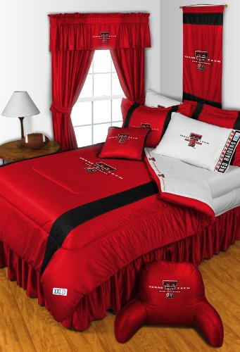 Texas Tech Red Raiders 3 Pc TWIN Comforter Set & Bonus 2 Pc Towel Set - Entire Set Includes: (1 Comforter, 1 Sham, 1 Bedskirt, 1 Bath Towel, 1 Hand Towel) SAVE BIG ON BUNDLING! Texas Tech Sham