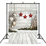 (US) SJOLOON 5X7ft Christmas Balls White Wood Floor Photography Backdrop Fabric Photo Backdrops Customized Studio Background JLT10383