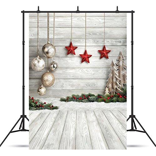 SJOLOON 5X7ft Christmas Balls White Wood Floor Photography Backdrop Fabric Photo Backdrops Customized Studio Background JLT10383 -