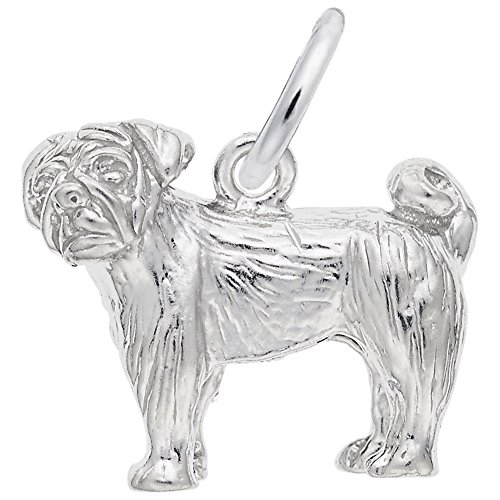 Pug Charm In Sterling Silver, Charms for Bracelets and Necklaces (Silver Sterling Pug)