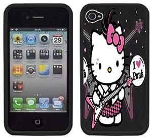 Hello Kitty Punk Rock Handmade iPhone 4 4S Black Hard Plastic Case Kimberly Kurzendoerfer