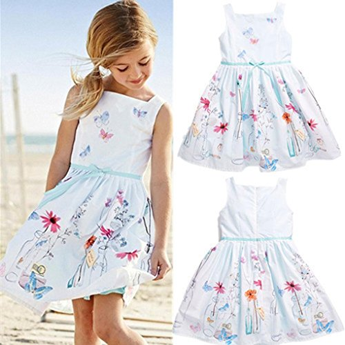 Hatop 2016 Kids Girls Strap Childrens Clothing Floral Butterfly Print Princess Dress