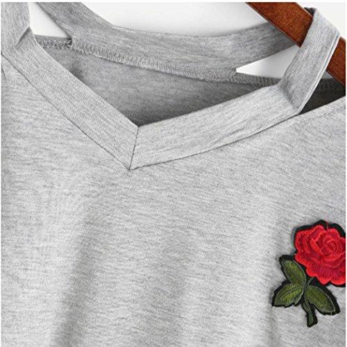 1 Stampata per Strisce Colture delle Donna Manica Camicetta Le T Casuale Donna Estate Corta a Luoluoluo Top Donna Cime Grigio Rosa Shirt Crop Donne acx7q6w0Zg