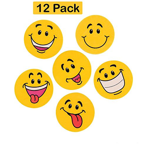 Just4fun 24 Emoji Emoticon ERASERS 2 Smiley Face Smile Party Favors Classroom Teacher Rewards rin 2 Dozen