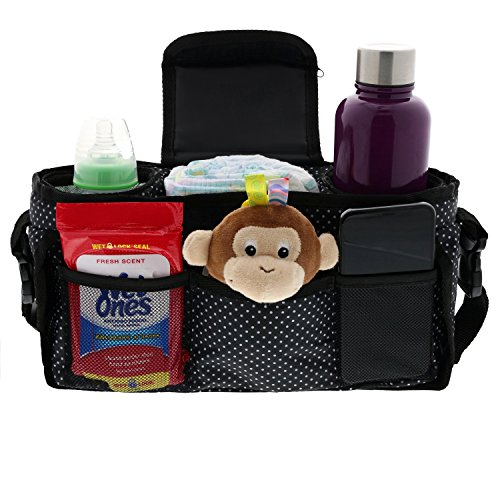 Monster Tots Baby Stroller Diaper Organizer Bag - Waterproof 420D Polyester - Light Weight Design - 2 Insulated Bottle Holder Pockets - Cell Phone Pocket by MONSTER TOTS (Image #8)