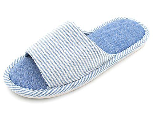 Cotton Sunshine Washable Linen Travel Women's Code Slippers For Memory Foam Hotel Stripe Blue Bedroom Spa House nIYAqRICw