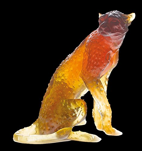 Daum Sculpture (Daum Glass - Animal Sculptures Collection - Amber Sitted Cheetah)