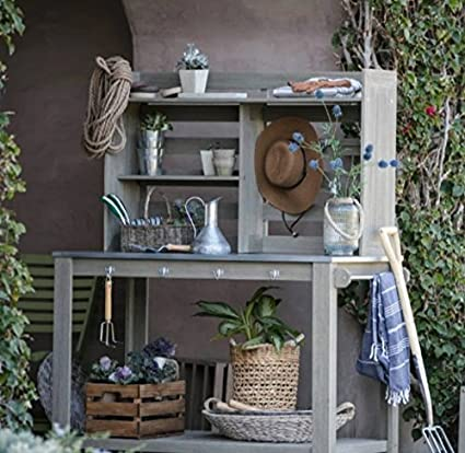 Potting Bench, Garden Potting Bench, Potting Benches Driftwood Finish,Hutch  Back With Open