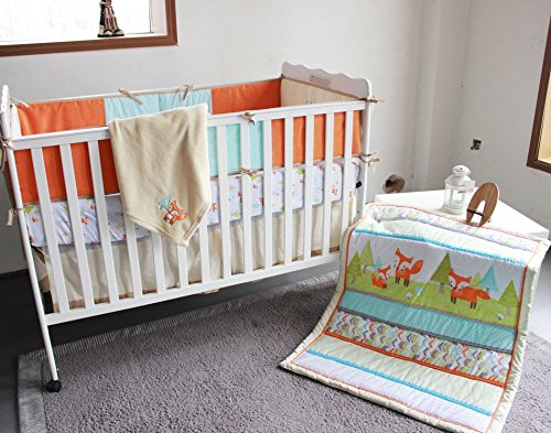 NAUGHTYBOSS Unisex Baby Bedding Set Cotton 3D Embroidery Prairie Fox Quilt Bumper Bedskirt Fitted Blanket 8 Pieces Color Matching by NAUGHTYBOSS (Image #6)