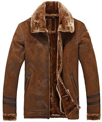 - XQS Mens Splice Winter Outdoor Suede Sherpa Lined Bomber Jacket Coat Coffee Medium