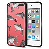ipod 5 bumpers with clear back - FINCIBO Case Compatible with Apple iPod Touch 5 6 7th Gen 2019, Slim Shock Absorbing TPU Bumper + Clear Hard Back Protective Cover for iPod Touch 5 6 7 - Gray Sharks