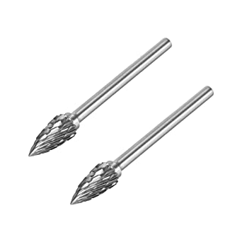 uxcell Carbide Burrs Double Cut Rotary Burrs File Cylinder Shape Cutting Burrs with 1//8 inches Shank and 1//8 inches Head Size for Die Grinder Bits 2pcs
