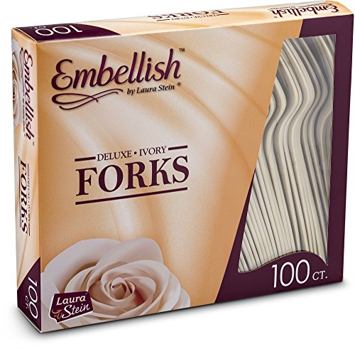(Embellish Cutlery Deluxe Heavy Weight Ivory Plastic Forks 100 Forks In A Box )