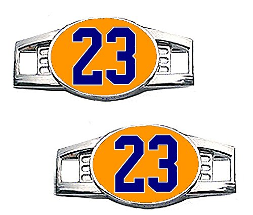 23 Chicago Bears Jersey - Number Charms - Jersey Style in Team Colors for Shoelace / Paracord (Number 23 Orange & Navy Blue)