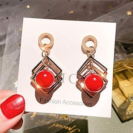 Pendientes de aleación de moda Cuentas blancas rojas Pendiente de gota para mujer Joyería minimalista de moda Pendientes geométricos