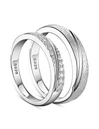 SHEGRACE 925 Sterling Silver Couple Rings Engraved Frosted and AAA Zircon Platinum Size (Adjustable) for Lovers