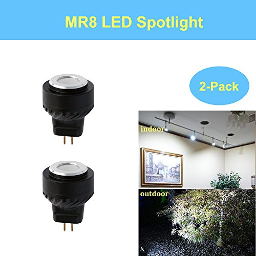 Makergroup MR8 12VAC/DC MR8 LED Spotlight Mini 10-20W Halogen Replacement LED Light Bulb GU4 Base Cool White Color 5000-5500K for indoor and outdoor low voltage landscape lighting (2-Pack) (5500 Colour)