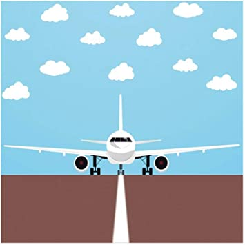 Amazon Com 5x4ft Cartoon Airplane Backdrop Blue Sky White Clouds Airport Runway Cartoon Aircraft Time Flies Grunge Sky Cloudscape Background Portrait Vinyl Prop Camera Photo