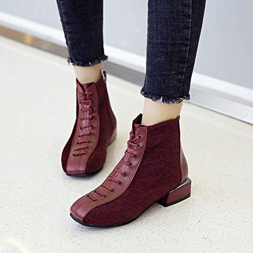 Lace Wine Womens Shoes Flock Low Boots Boots Short Up Chunky Holywin Ankle Heel Boots Casual PSn6pdWZ