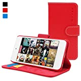 iPod Touch Case, Snugg Red Leather Flip Case [Card Slots] Executive Apple iPod Touch Wallet Case Cover and Stand [Lifetime Guarantee] - Legacy Series