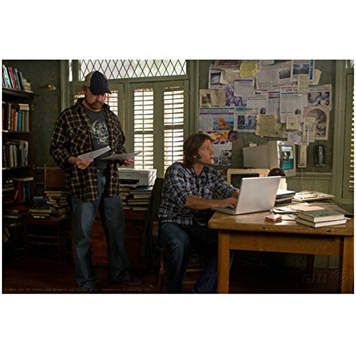 Supernatural Jared Padalecki Typing with Jim Beaver Looking at Papers 8 x 10 Inch Photo]()