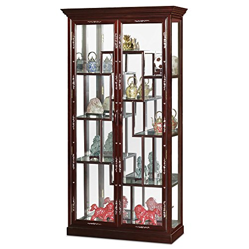 China Furniture Online Rosewood Curio Cabinet, Mother Pearl Inlay Display Cabinet Cherry Finish (Asian Cabinet Display)