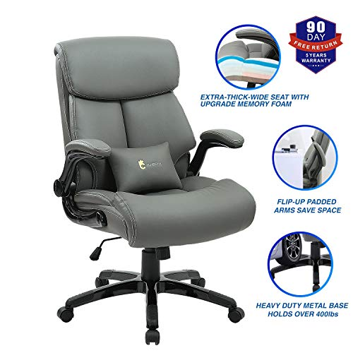 Ergonomic Office Chair,High Back Executive Leather Chair 300 lb Capacity, Reclining Swivel Chair with Lumbar Support by