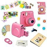 Fujifilm Instax Mini 9 Camera + 14 PC Instax Accessories kit Bundle, Includes; Instax Case + Album + Frames & Stickers + Lens