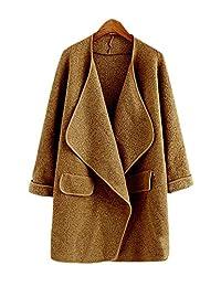 ARJOSA Women's Deep V Neck Pockets Open Front Cardigan Jacket Trench Coat