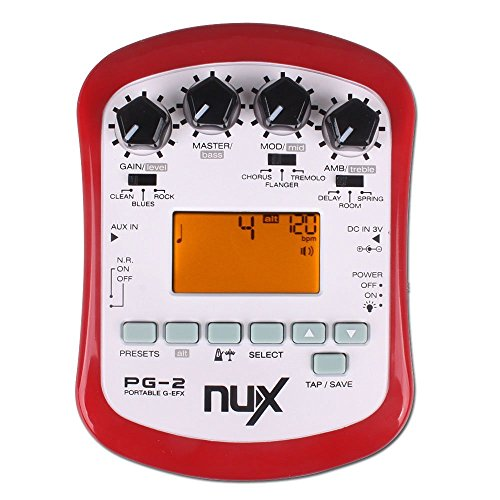 NUX PG-2 Portable Electric Guitar Multi-Effects Pedal Processor with Tuner Metronome Built-in Noise Gate (Cherub Guitar Tuner)