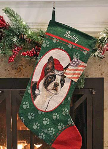 Personalized Boston Terrier Pet Christmas Stocking (Dog Tapestry Stocking Christmas)